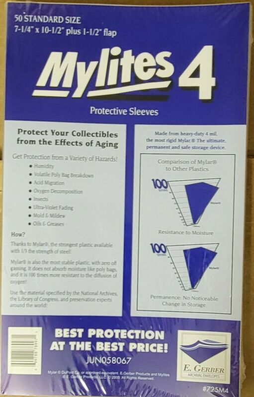 """E Gerber 50-Count *MYLITES MYLAR COMIC BAGS* Standard-Size 7-1/4"""" x 10-1/2"""" 725M"""