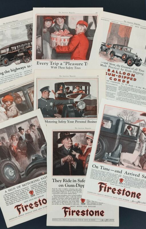 FIRESTONE TIRES 8 ADS 1924 to 1928 Old Automobile Car Scenes GROUP LOT