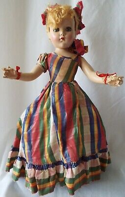 "Arranbee 1947 Nancy Lee 17"" Strung Hard Plastic Doll with Floss Wig Plaid Formal"