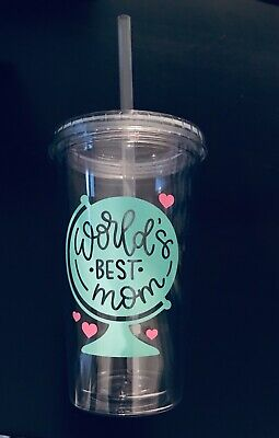Worlds Best Mom 16 oz Insulated Acrylic Double Wall Tumbler with Straw, Mom