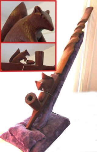 HUGE CATLINITE SQUIRREL EFFIGY  PIPE W. CURLY STEM (Eastern Sioux? 1930s )