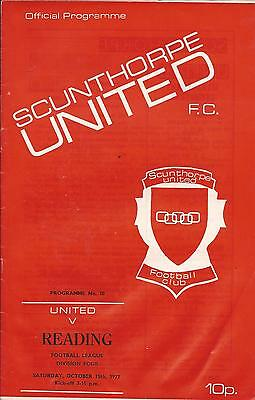 Football Programme - Scunthorpe v Reading Div 4 1977