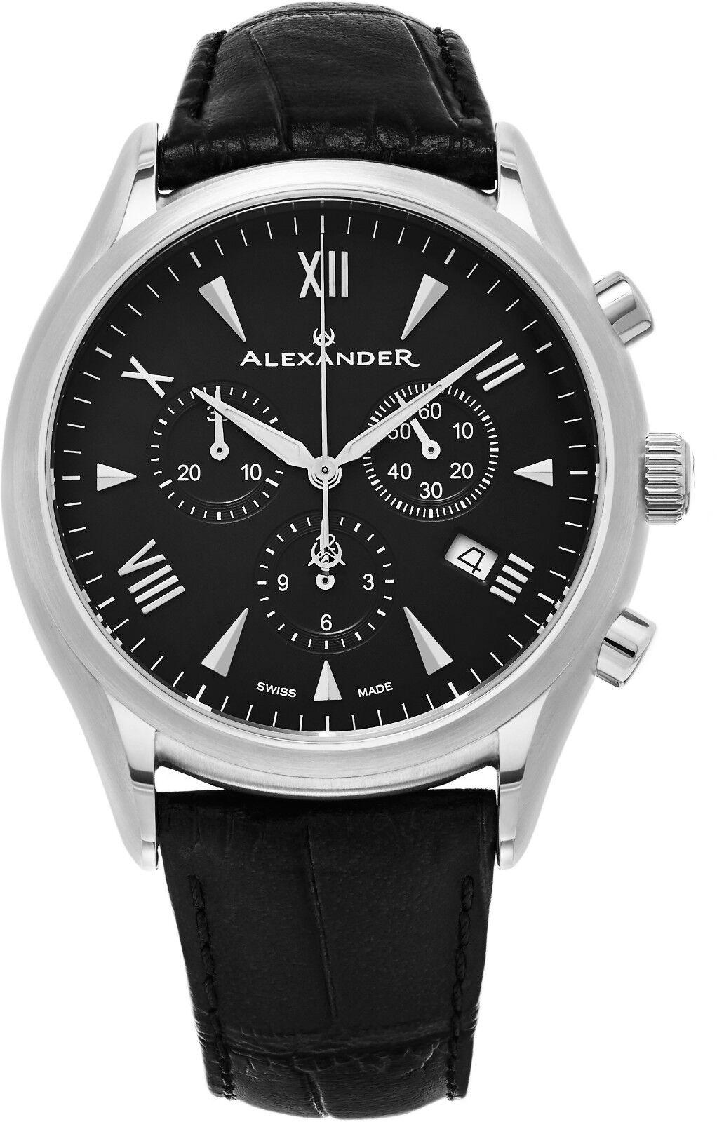 Alexander Pella Multi-Function Swiss Made Leather Strap Men's Chronograph Watch