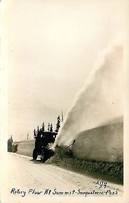 Washington  Wa  Snoqualmie Pass  Rotary Plow At Summit 1940S Real Photopostcard