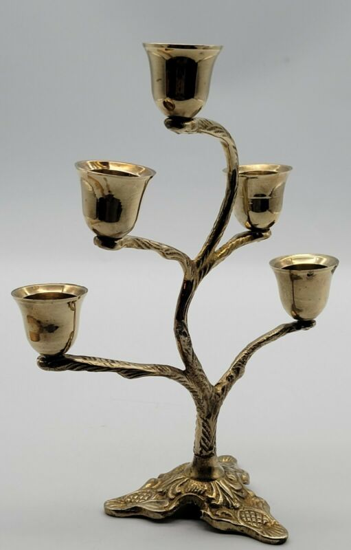Vintage Solid Brass Tree Candelabra. Beautiful 5 Candle Holders. Pre-Owned. NICE