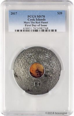 2017 $20 Cook Islands Mars The Red Planet 3 oz. Silver Coin PCGS MS70 FD