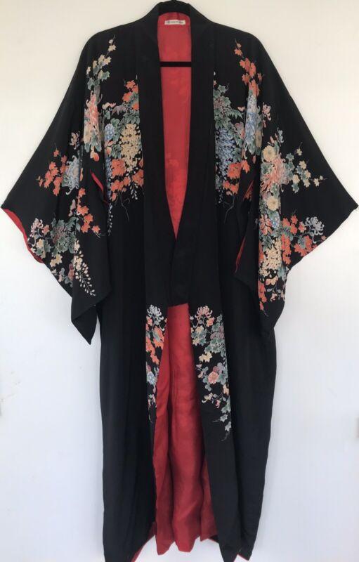 Vintage 1920s Silk Crepe Screen Print Art Deco Japanese Export Kimono