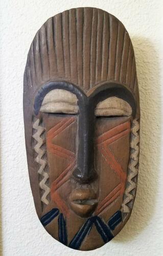 "Tribal TIKI Wood CARVED FACE HEAD MASK 13"" Wall decor Shag tropical boho chic"