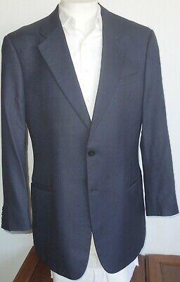 Armani Collezioni Men's 46L Two Button Dual Vent Midnight Blue Black Checked