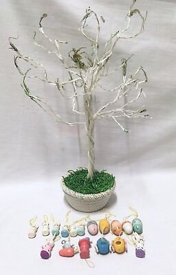 Vtg Jubilee Wire Easter Tree 17 Painted Wood Ornaments 16