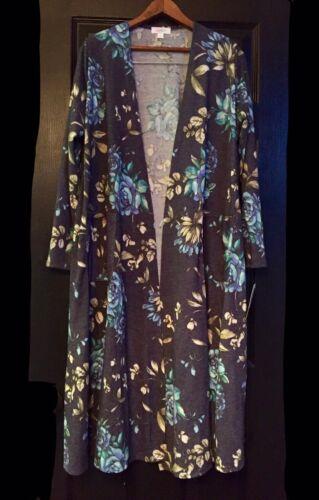NWT Lularoe M BLUE TATTOO ROSES Sarah Duster UNICORN Floral