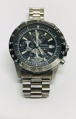 Seiko Men's SNDC99 Chronograph Watch - Black Chronograph with Silver Band - 2010