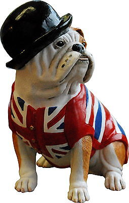 BRITISH BULL DOG with BOWLER HAT & UNION JACK WAISTCOAT SCULPTURE FIGURINE