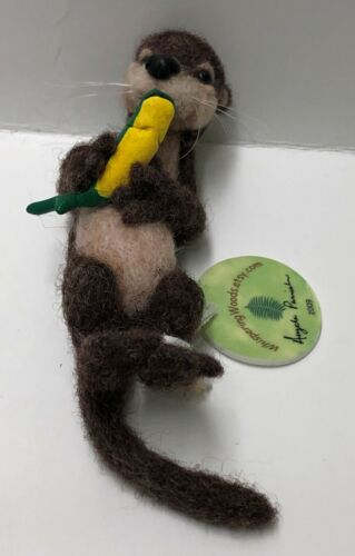 Original One Of A Kind Firm Needle Felted Otter with Fish
