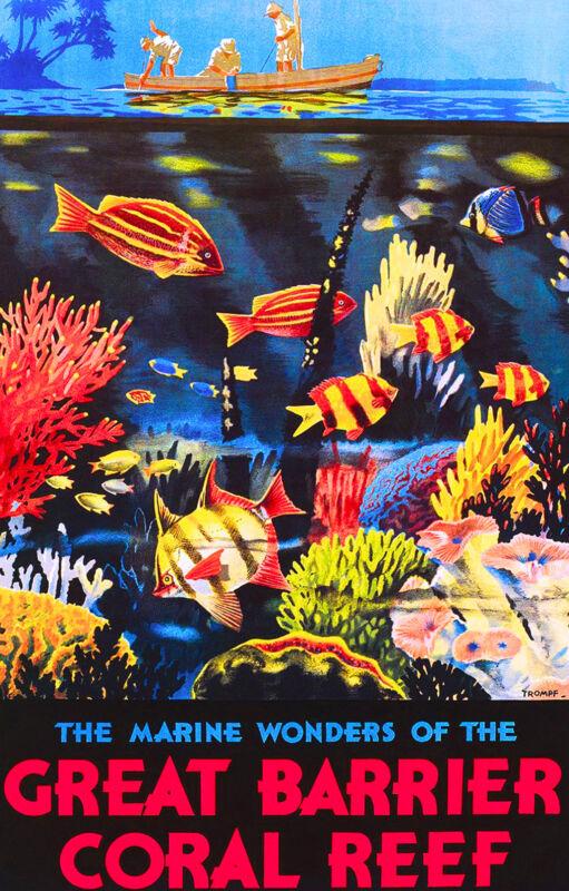 The Great Barrier Reef Fish Australia Australian Travel Advertisement Poster