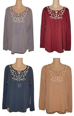 Sonoma Womens Embroidered Peasant Top Tassel Tie Cotton Knit S M L XL New $30