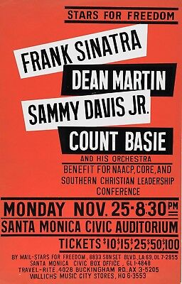 "Frank Sinatra / Deam Martin / Sammy Davis 16"" x 12"" Photo Repro Concert Poster"