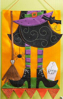Felt Embroidery Kit ~ Plaid / Bucilla Halloween Witch Wall Hanging #86693 (Halloween Felt Crafts)