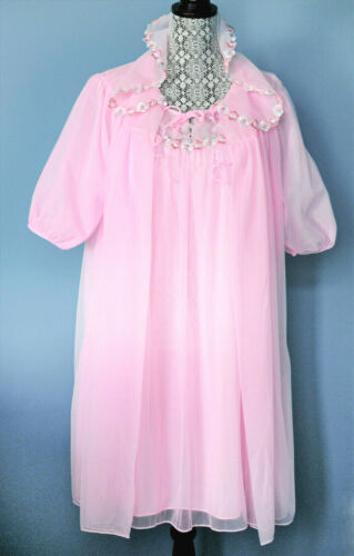 🎀 Peignoir Set 2PC Nylon Chiffon Babydoll Nightgown Pink 70s Large Canada