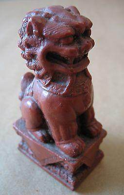 "A vintage 3 1/2"" tall cast oriental foo dog lion figurine"