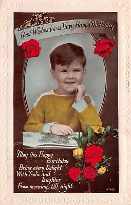 R251035 Best Wishes for a Very Happy Birthday. Red roses and boy reading book.