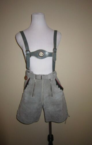 VTG 50s Lederhosen Shorts Suspenders Gray Suede Red Green Leather Women XS S