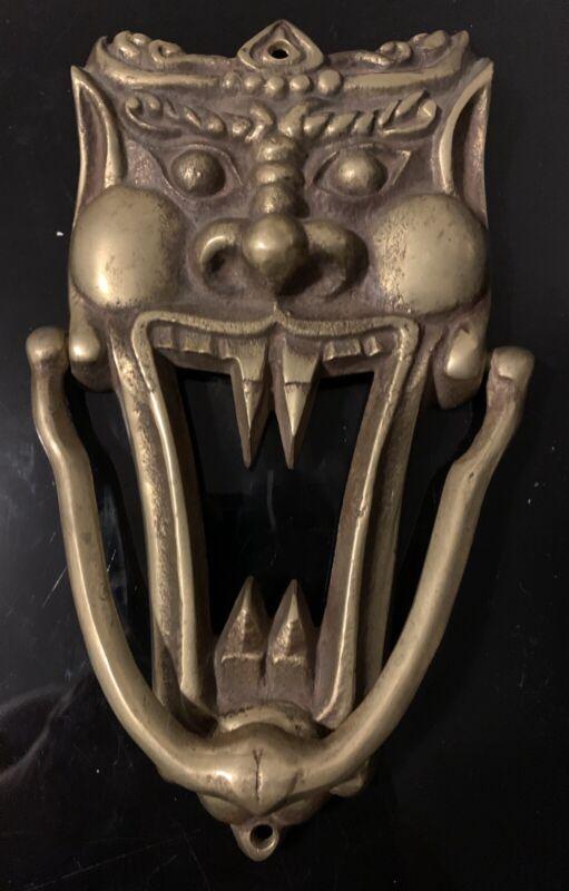 Vintage Brass Demon Door Knocker Pre-1970s
