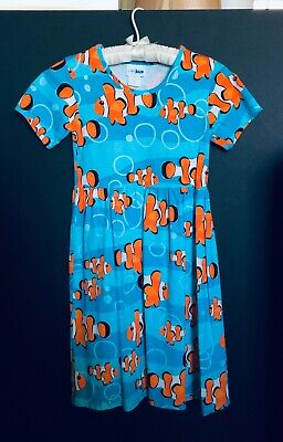 CWDKids | Girls Blue & Orange Clownfish Nemo Dress | Size 10-12 | 100% Cotton](Dresses Size 10 12)