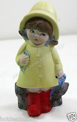 ADORABLE GIRL IN YELLOW RAIN COAT RED BOOTS W/ CATS UMBRELLA PORCELAIN FIGURINE - Girl In Red Boots