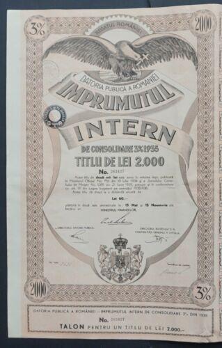 Romania - Romania State Internal Loan - 1935 - 3% bond for 2000 Lei