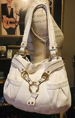B Makowsky Large White Leather Hobo Shoulder Bag Gold Hardware with Dust Cover