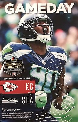 f854869a3 Official GAMEDAY PROGRAM SEATTLE SEAHAWKS vs KC CHIEFS JARRAN REED COVER  Dec 23