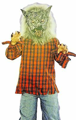 Halloween Scary Costumes For Boys (Boys Size Medium Werewolf Halloween Costume NEW Red Shirt & Mask Scary Monster)