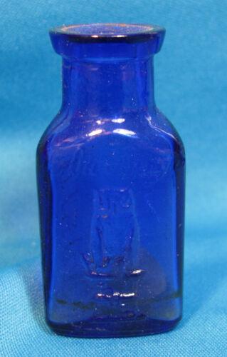 Owl Drug Company Blue Glass Poison Bottle Two Wing ABM 3 on Base Stopper Inside