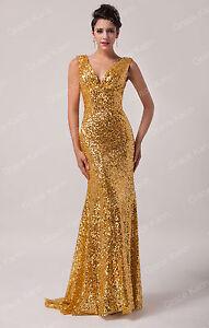 Unique Sequins Deep V Long Evening Formal Party Ball Prom Bridesmaid Maxi Dress