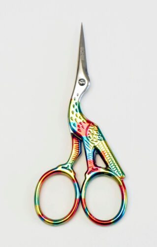 """BOHIN 4.5"""" Harlequin Stork Embroidery Scissors ~Needlepoint, Embroidery,X-Stitch"""