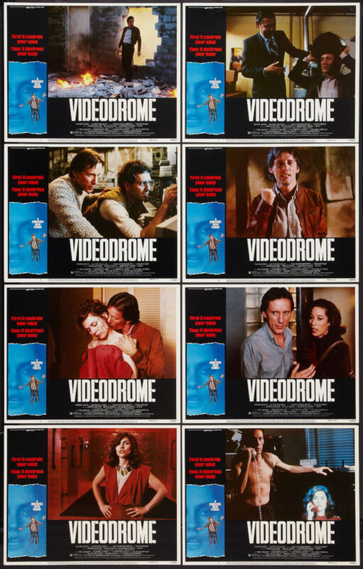 VIDEODROME orig 1983 lobby card set JAMES WOODS/DEBORAH HARRY/DAVID CRONENBERG