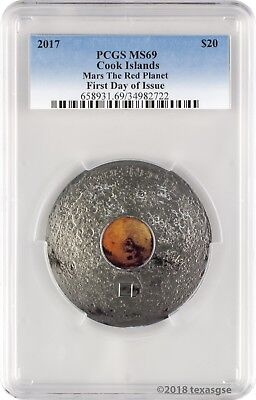 2017 $20 Cook Islands Mars The Red Planet 3 oz. Silver Coin PCGS MS69 FD