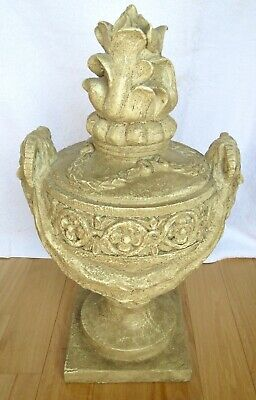 """Roman Grecian Etruscan Look Pottery Carved URN SCULPTURE Display Item 20.5"""" Tall"""