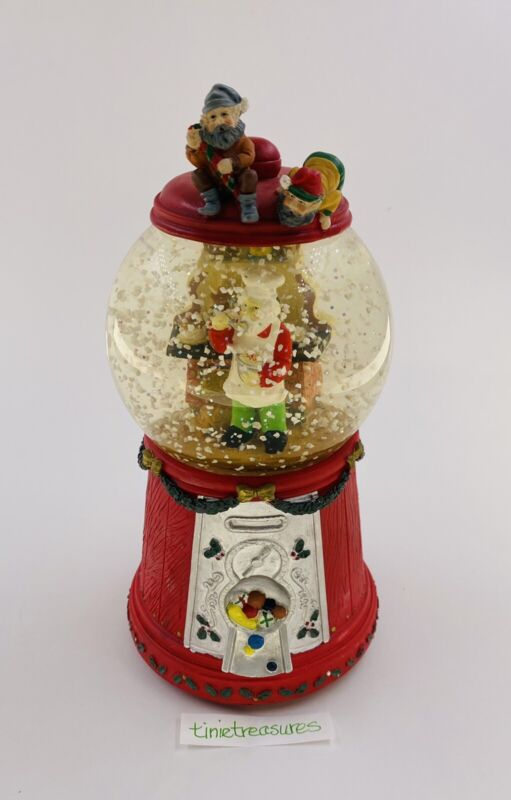 Gumball Machine Snow Globe Music Box Plays Santa Clause Coming To Town 1993