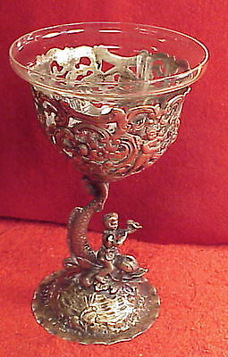 MARRIAGE COIN Silver Wine Goblet Repousse Boy Riding Dolphin Angels Violins Frog