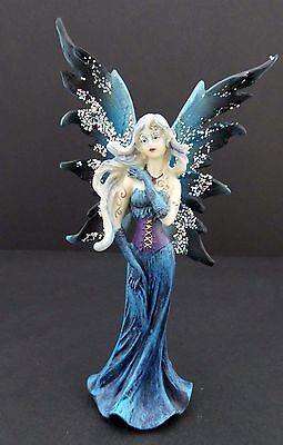 Blue Winter Fairy Statue with Tattoos and Glitter Wings Mythical Fairy - Winter Fairies