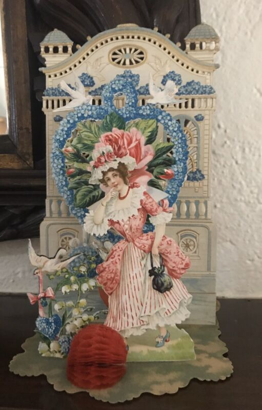"""LARGE 11"""" ANTIQUE VALENTINE STANDS UP w PULLDOWN HONEYCOMB. GERMAN DOVES FLOWERS"""