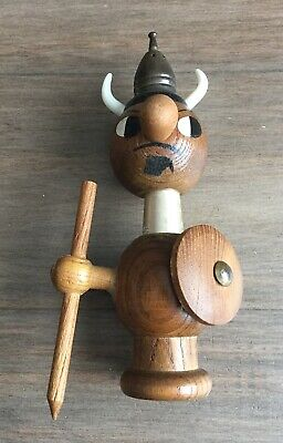 Mid Century Teak Hans Bolling Style Viking Salt and Pepper Shaker- Quirky Retro