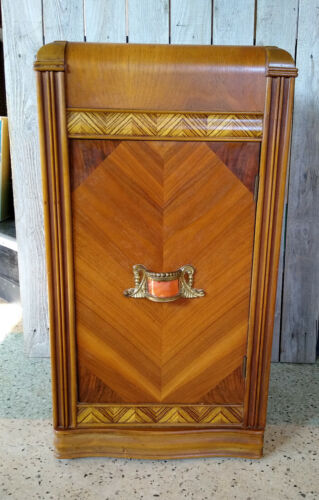 Antique Art Deco 1920s Wood Inlay Waterfall Night Stand Cabinet w/ Bakelite Pull