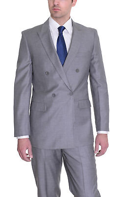 Men's Effetti Light Gray Striped Double Breasted Wool Blend 2 Piece -