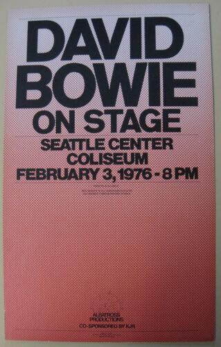 DAVID BOWIE Seattle Center Coliseum 1976 ORG Cardboard CONCERT POSTER Beautiful