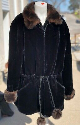Vintage RARE Oleg Cassini Black Chinchilla Fox Faux Fur Draw String Tunic Coat L Black Chinchilla