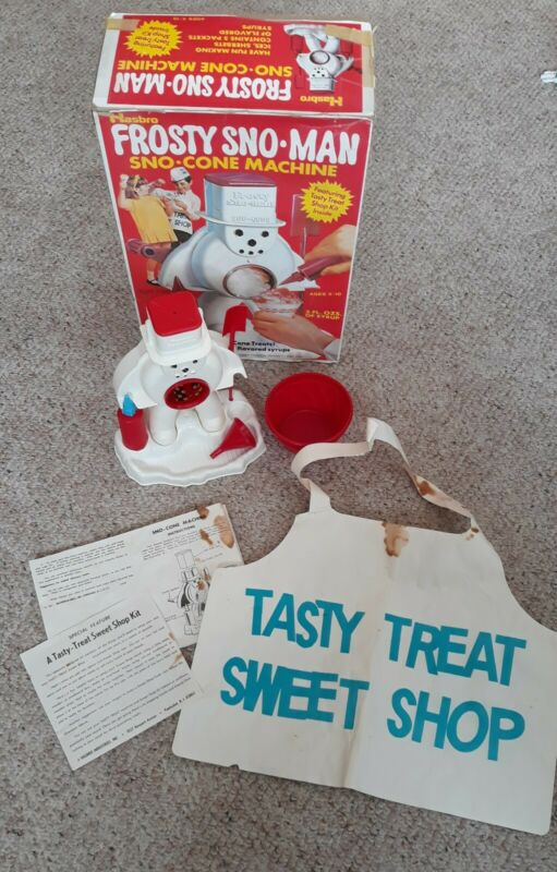Vintage Hasbro Frosty Sno-Man Sno-Cone Machine with Box Dated 1974