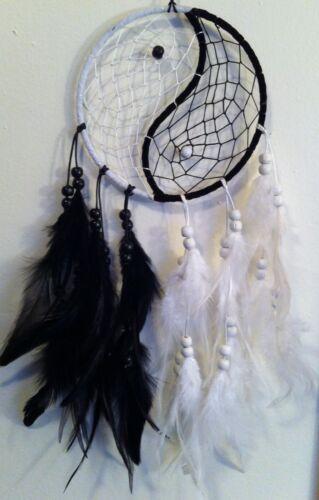 Cherokee Dream Catcher, Black & White, Yin Yang, Feathers, Beads